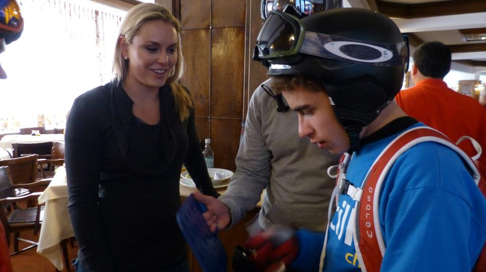 Olympian Lindsey Vonn, with Joey in Portillo, Chile August 2012